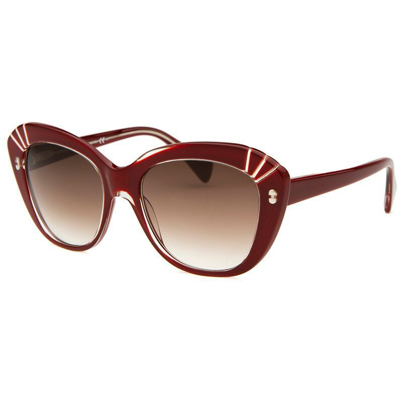 725-320- Alexander McQueen Cat Eye Red Sunglasses w/ Case
