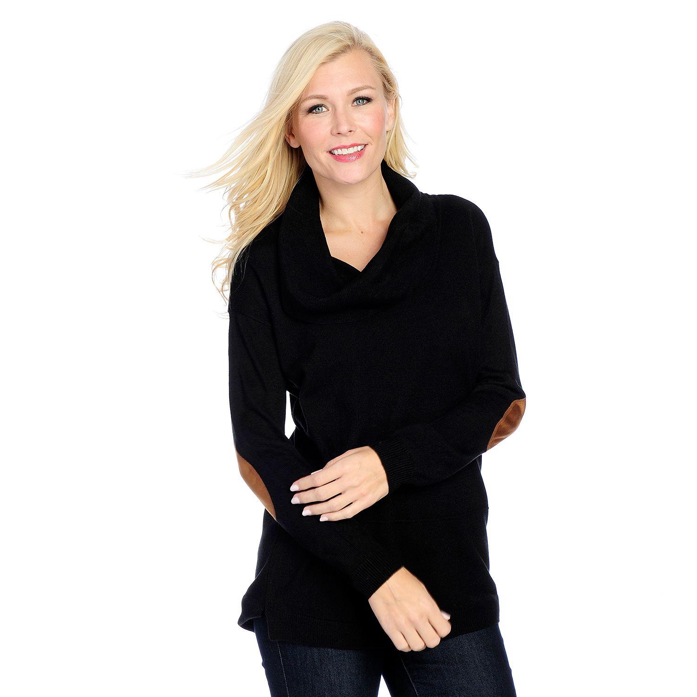726-169- OSO Casuals® Knit & Faux Suede Drop Shoulder Cowl Neck Elbow Patch Tunic