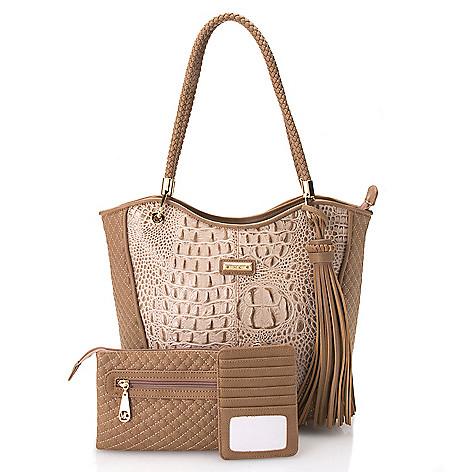 "726-448- Madi Claire Three-Piece ""Devon"" Croco Embossed Leather Tote Bag w/ Wristlet & Card Holder Set"