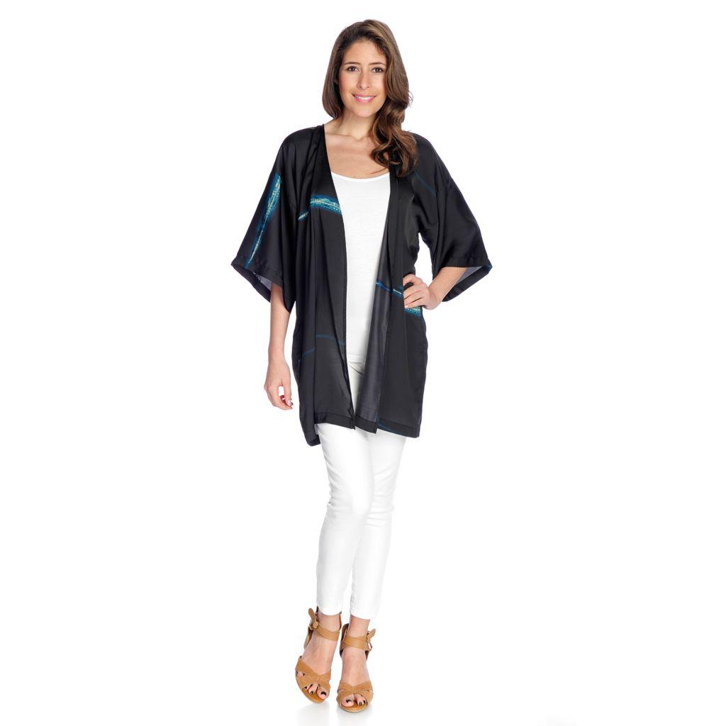 727-489- ARAE Printed Woven Elbow Sleeve Open Front Kimono Cardigan