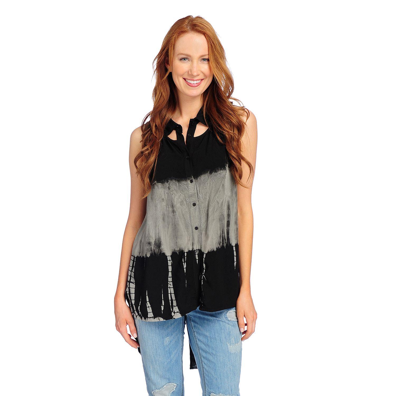 727-521- Indigo Thread Co.™ Dip-Dyed Woven Sleeveless Split Back Hi-Lo Cut-out Top