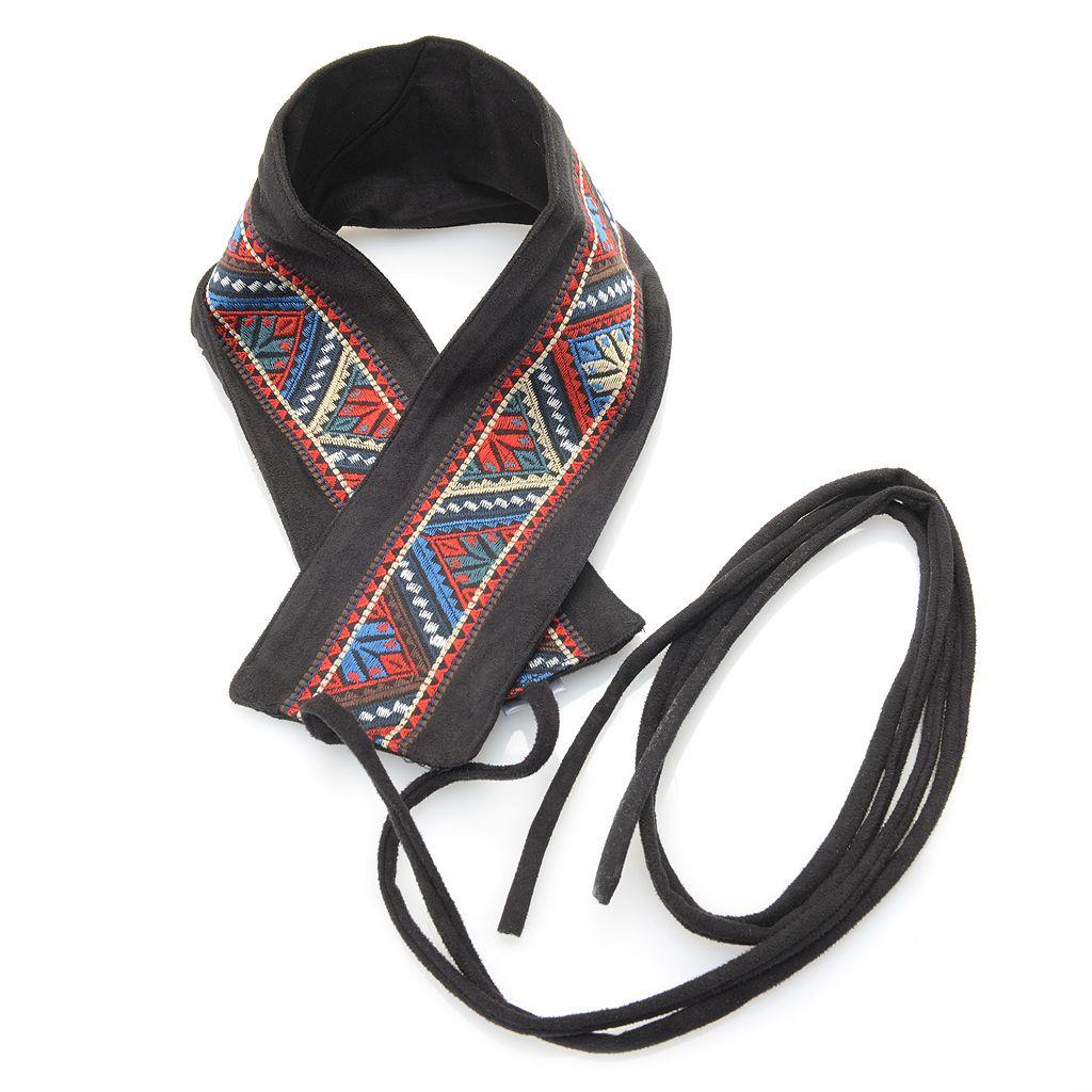 727-768 - Fair Child Faux Suede Embroidered Tie Belt