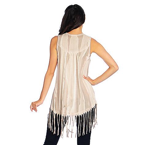 727-961- Indigo Thread Co.™ Knit Rounded Hem Fringe Trimmed Open Front Vest