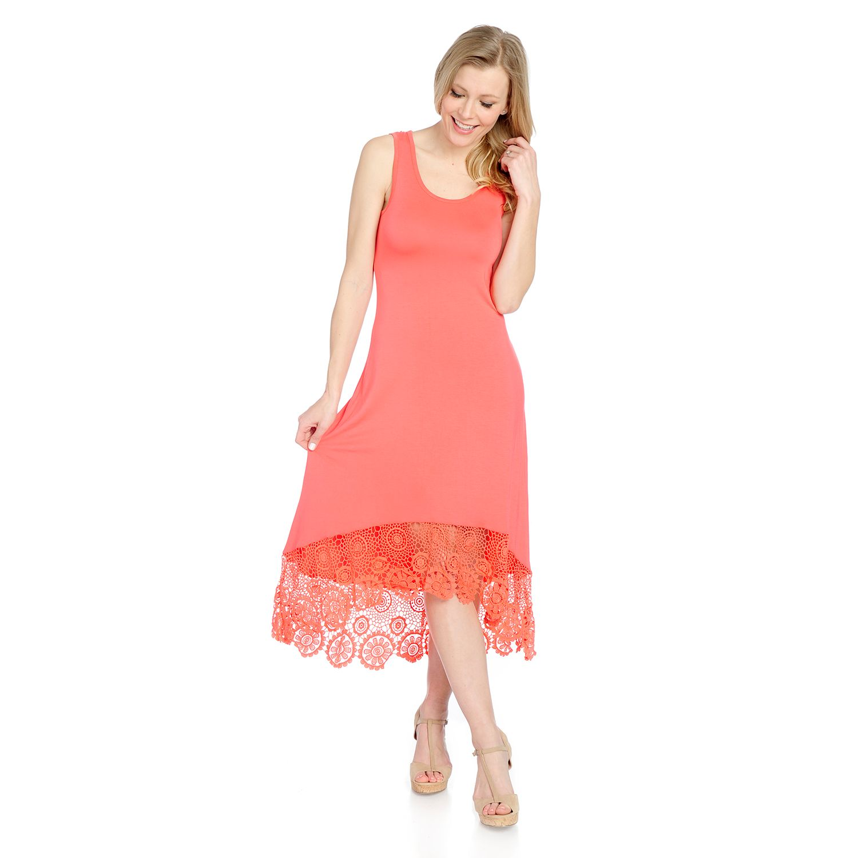 728-091- Kate & Mallory® Stretch Knit Sleeveless Lace Detailed Hi-Lo Maxi Dress