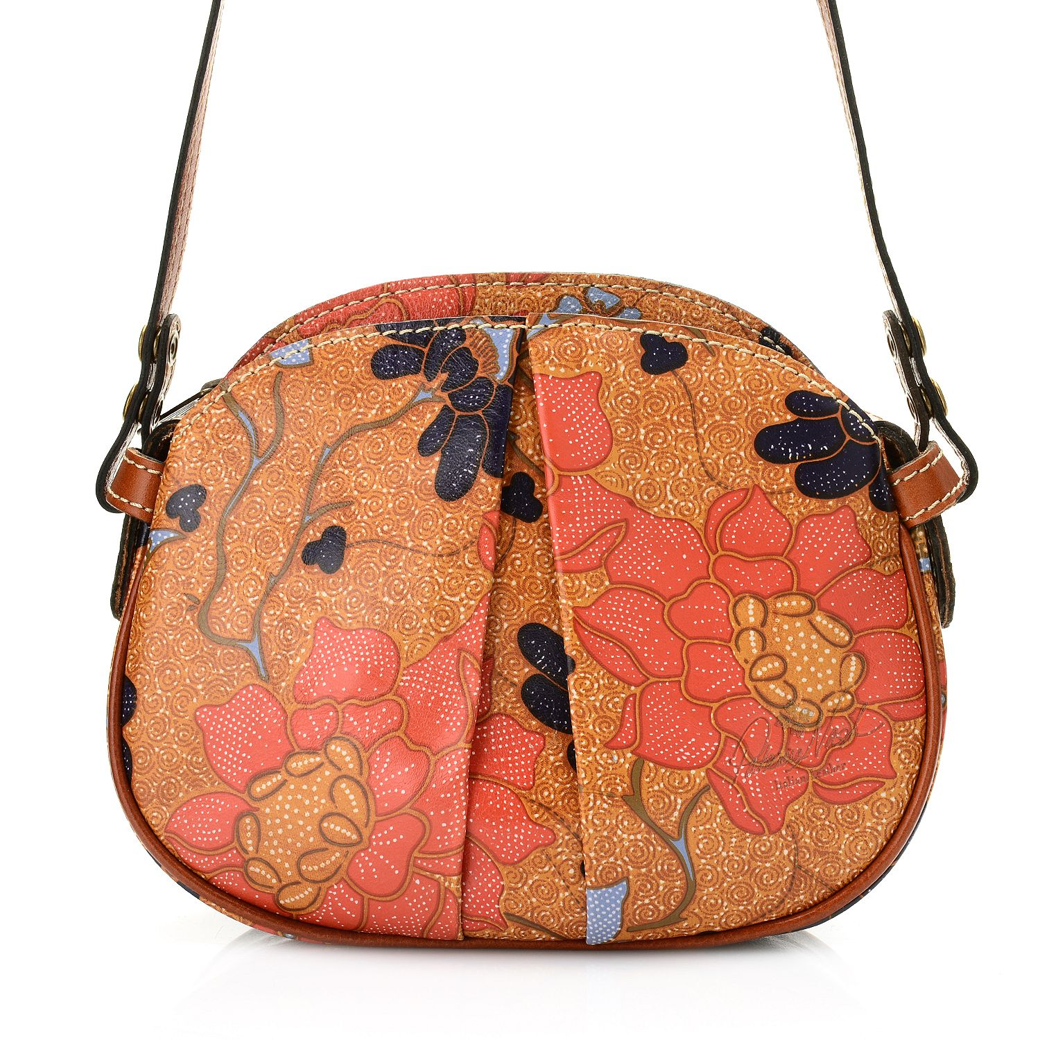 """728-524- Patricia Nash """"Chania"""" Leather Zip Top Pleat Detailed Crossbody Bag"""