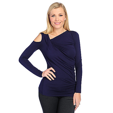 728-709- Marc Bouwer Stretch Knit Long Sleeved Draped Neck Cold Shoulder Top