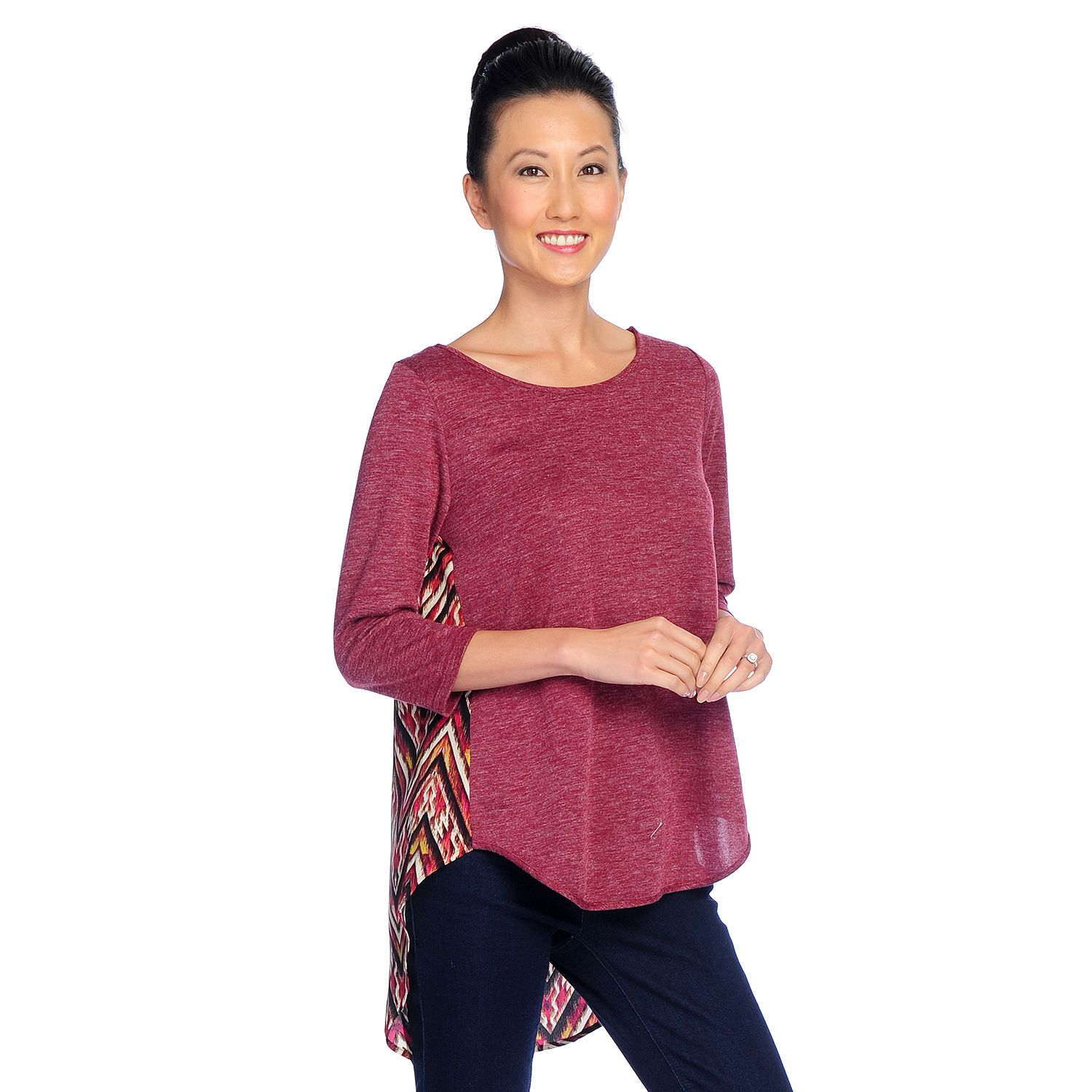 728-778- Kate & Mallory® Mixed Media 3/4 Sleeve Lace Detailed Shirttail Hem Top