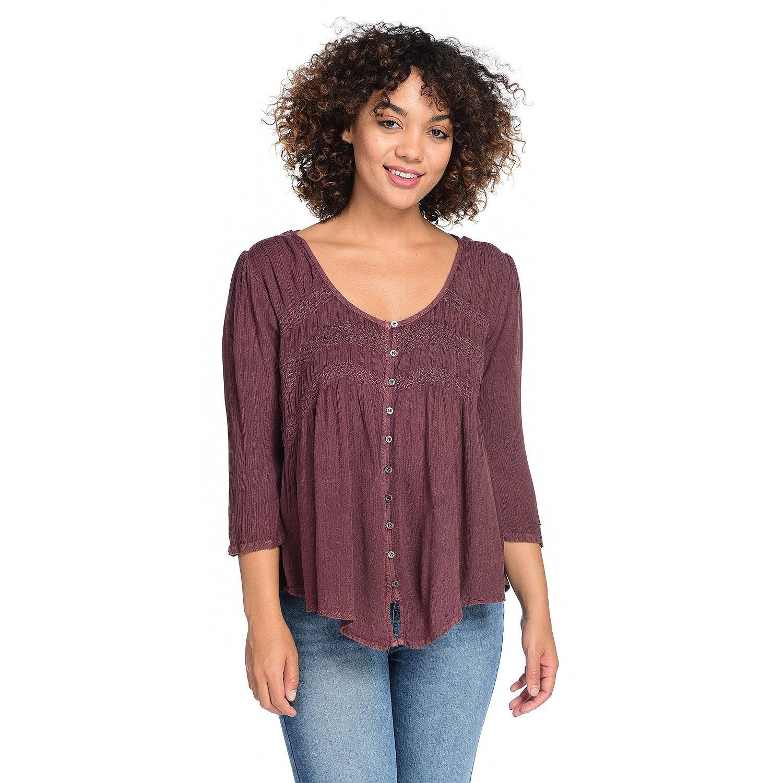 729-366- Indigo Thread Co.™ Woven Gauze 3/4 Sleeved Button Front Smocked Hi-Lo Top