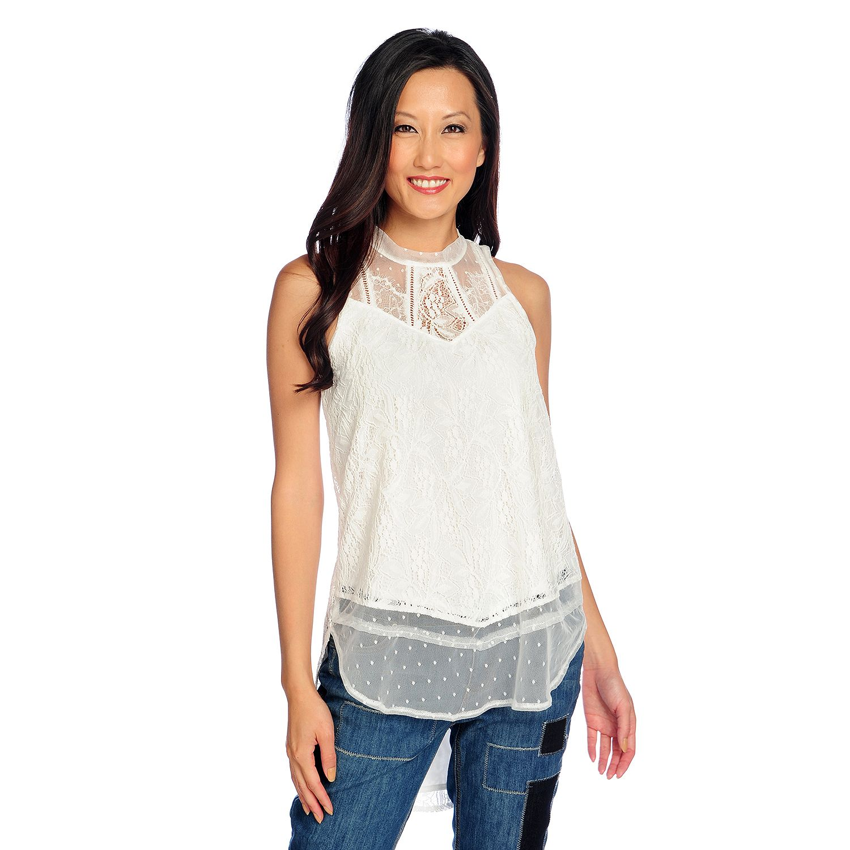 729-792- Indigo Thread Co.™ Knit Lace Mesh Trimmed Shirttail Hem Tank Top