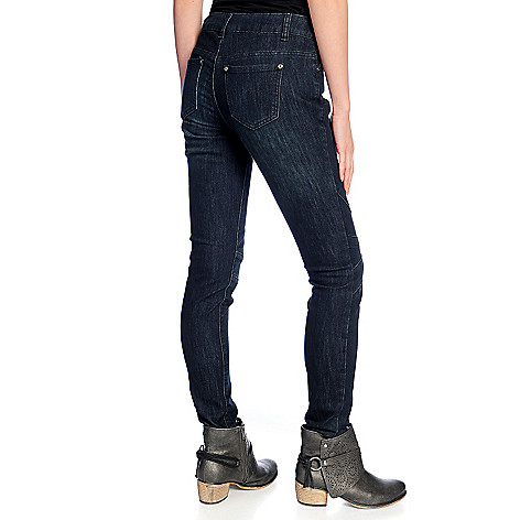 730-373- Indigo Thread Co.™ Stretch Denim Five-Pocket Seamed Knee Skinny Jeans