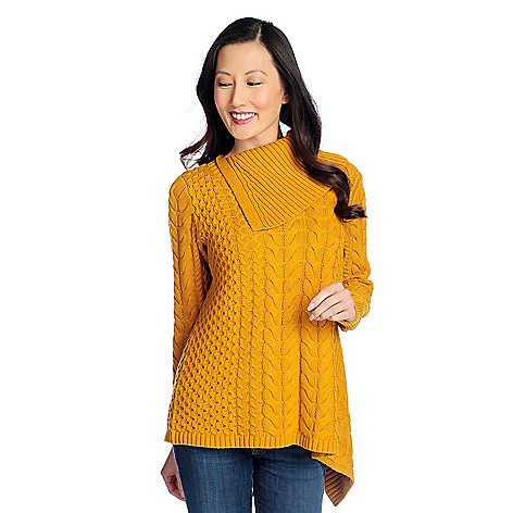 730-622- OSO Casuals® Mixed Stitch Knit Long Sleeve Asymmetrical Cowl Neck Sweater