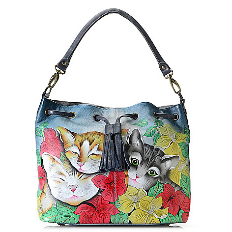 731-540- Anuschka Hand-Painted Leather Convertible Drawstring Bag w/ 2 Removable Straps