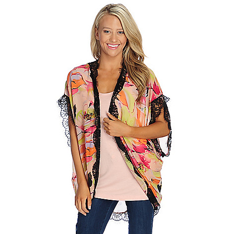 Kate & Mallory® Printed Chiffon Lace Trimmed Cocoon Cardigan ...