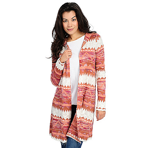 One World Sweater Knit Long Sleeve Aztec Printed Hooded Cardigan