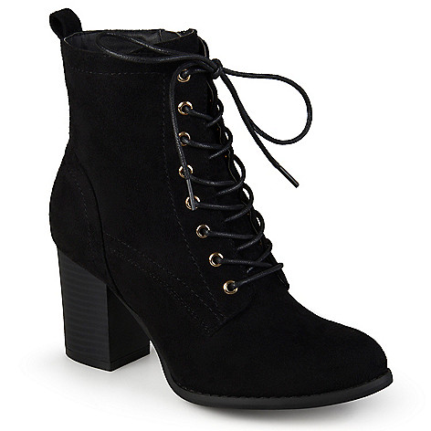 Journee Collection Faux Suede Stacked Heel Lace-up Ankle Boots
