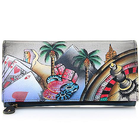734-506- Anuschka Hand-Painted Leather RFID Blocking Tri-Fold Wallet