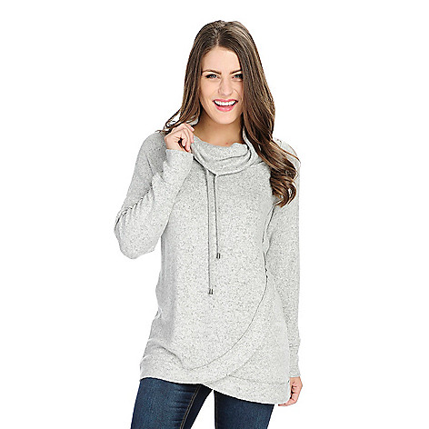 OSO Casuals® Knit Long Sleeve Tulip Hem Drawstring Cowl Neck Sweater