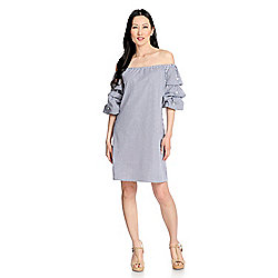 mōd x Woven Knit Lined 3/4 Lantern Sleeve Convertible Neck Embellished Dress