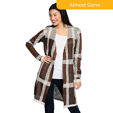 OSO Casuals® Sweater Knit Plaid Long Sleeve Open Front Duster Cardigan