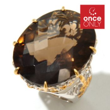 131-727 - Gems en Vogue II 42.12ctw Smoky Quartz & Ruby Elongated Ring