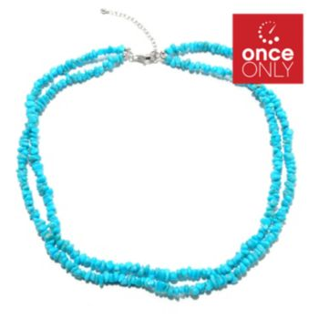 "132-330 - Gem Insider Sterling Silver 18"" Sleeping Beauty Turquoise Chip Necklace"