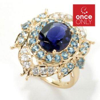 135-426 - Gem Treasures 14K Gold 3.49ctw Iolite & Multi Gemstone Halo Leaf Ring