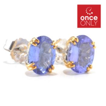 135-957 - Gems en Vogue 2.00ctw Oval Tanzanite Stud Earrings