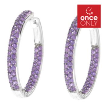 140-884 - Gem Treasures Sterling Silver Round Gemstone Inside-Out Hoop Earrings