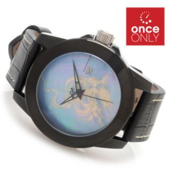 628-326 - Android 48mm Flying 3D Dragon Automatic Leather Strap Watch w/ 3-Slot Travel Case