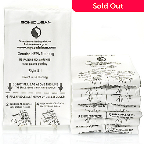 000-718 - Soniclean® Set of Eight Replacement HEPA Filtration Vacuum Bags