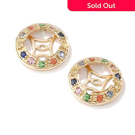 100-262 - 14K Gold Sapphire, Ruby & Emerald Earring Jackets