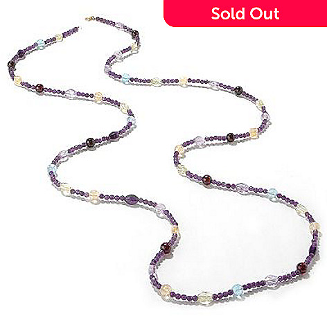 100-324 - 14K Gold 52'' Amethyst & Multi-Gemstone Necklace