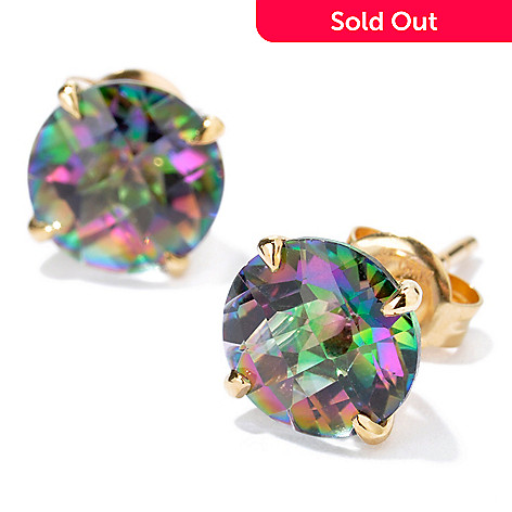 100-675 - 14K Gold Kellie Anne Gemstone Choice Sweet 16 Stud Earrings