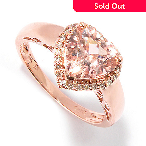 100-904 - Gem Treasures® 14K Gold 2.04ctw Heart Shaped Pink Morganite & Diamond Ring