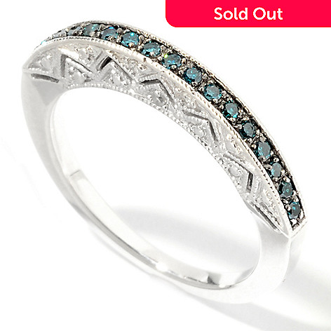 101-145 - Diamond Treasures® Sterling Silver 0.16ctw Fancy Color Diamond Cut-out Ring