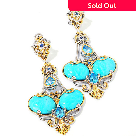 101-193 - Gems en Vogue Kingman Turquoise w/Swiss Blue Topaz Earrings