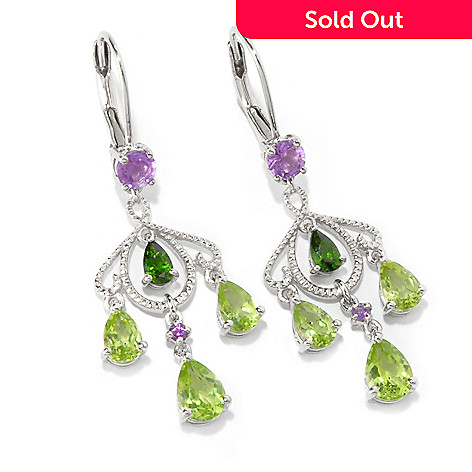 101-226 - NYC II™ 3.29ctw Peridot, Chrome Diopside, & Amethyst Earrings