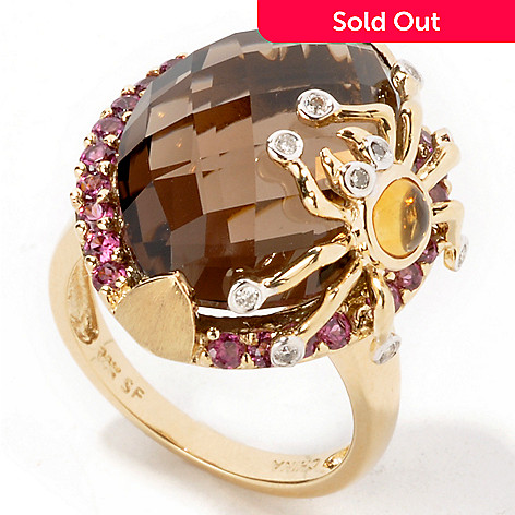 103-018 - 14K Gold Smoky Quartz & Diamond Multi-Gem Spider Ring