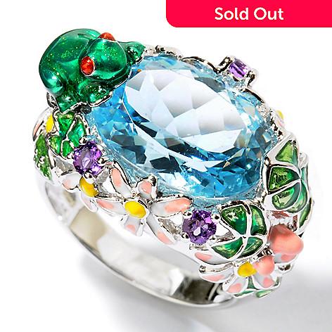 103-783 - Gem Treasures® Sterling Silver 5.92ctw Sky Blue Topaz & Amethyst Enamel Floral Frog Ring