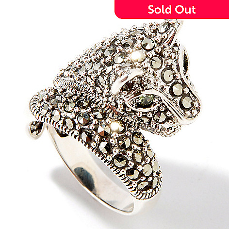 104-011 - Gem Treasures Sterling Silver Peridot & Marcasite Cat Ring