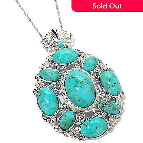 104-064 - Gem Insider® Sterling Silver 23 x 16mm Turquoise Openwork Pendant w/ Chain