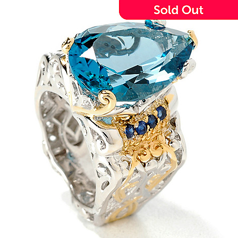 107-100 - Gems en Vogue 12.32ctw Pear Shaped London Blue Topaz Ring