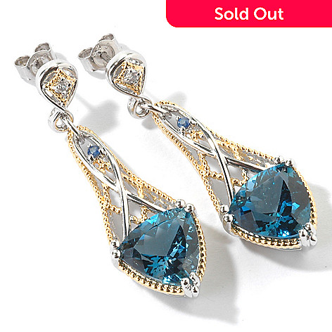 107-101 - Gems en Vogue 1.75'' 11.38ctw London Blue Topaz Trillion Drop Earrings