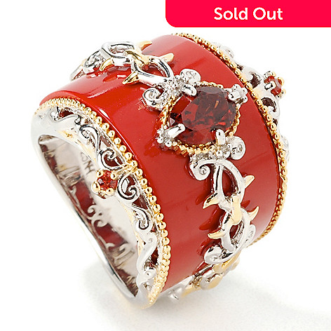 107-139 - Gems en Vogue II Opaque Gem Band w/ Semi-Precious Gem & Sapphire Ring