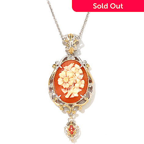 107-273 - Gems en Vogue 26 x 19mm Shell Flower Cameo & Orange Sapphire Pendant w/ Chain