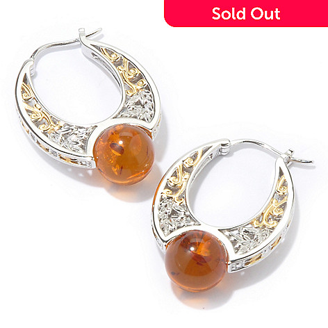107-279 - Gems en Vogue Baltic Amber Bead & White Sapphire Hoop Earrings