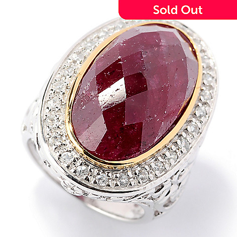 107-410 - NYC II 22 x 12mm Dyed Gemstone & White Zircon Oval Ring