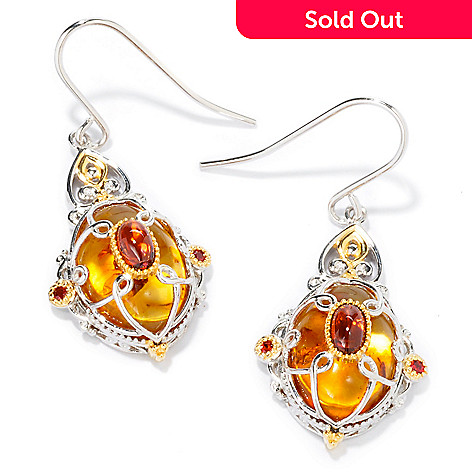 107-565 - Gems en Vogue II Louis XVI-Style Amber w/Garnet & Orange Sapphire Earrings