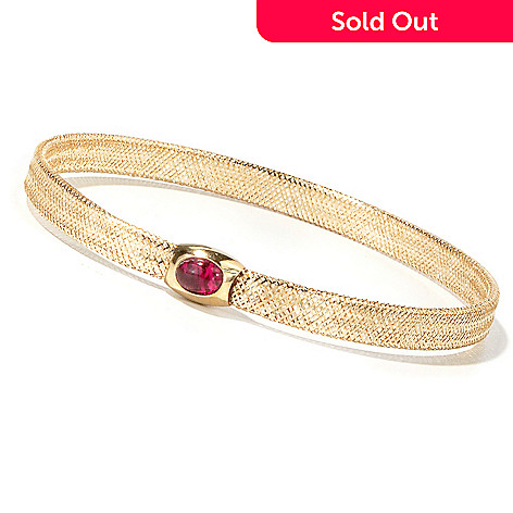 109-351 - Italian Designs With Stefano 14K Flex w/ Gemstone Polished Slip-On Bangle