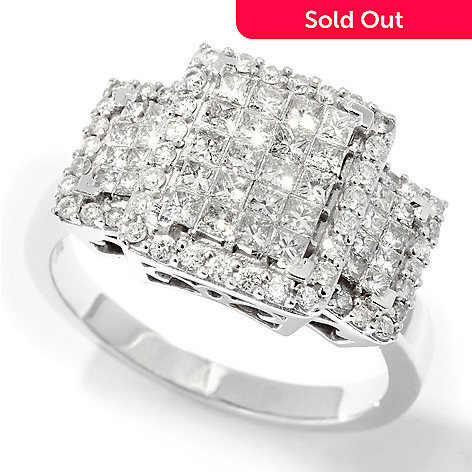 110-879 - Kallati Designs 14K White Gold 1.00ctw Three-Stone Look Diamond Ring